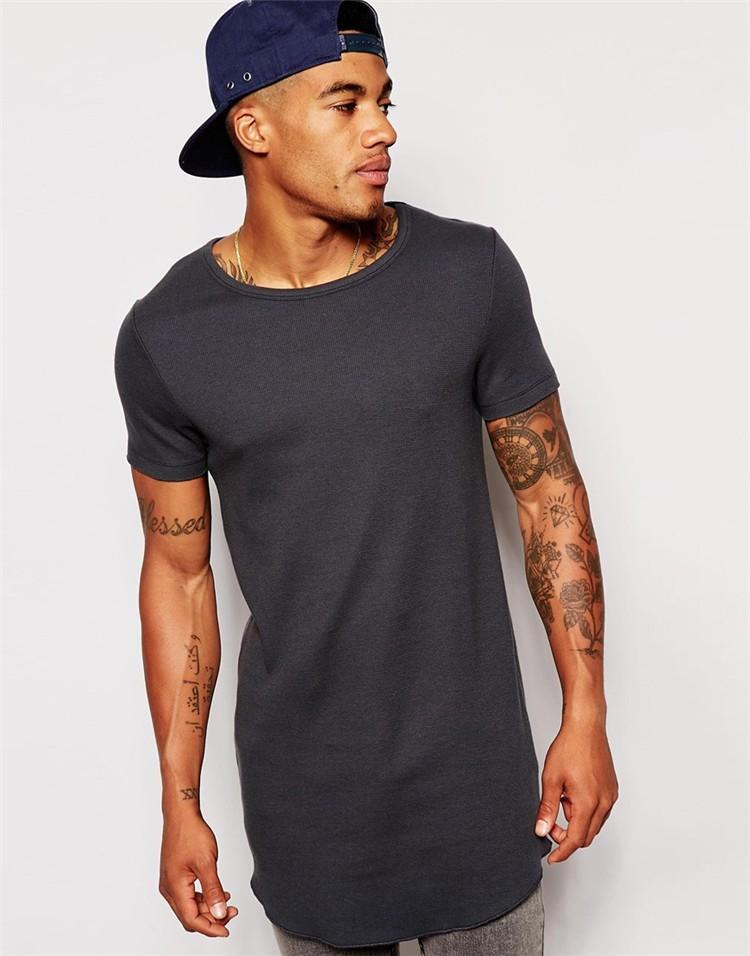 Tight Fit Long Men T Shirts Grey Color T Shirts Crossfit T Shirts ...