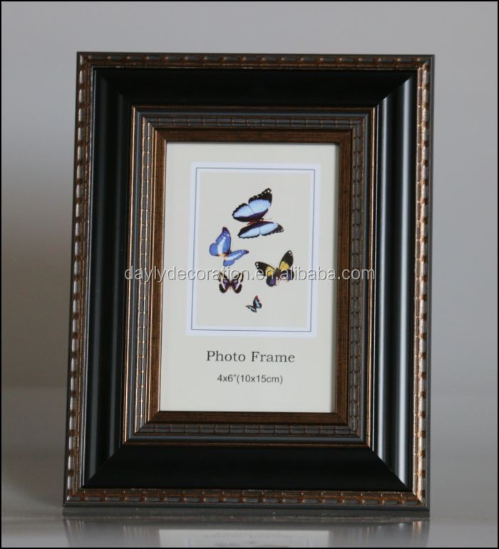 Antique photo picture frame wood style plastic TOP selling photo frame