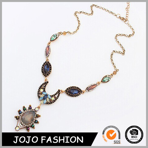 Lowest price popular colorful waterdrop acrylic bead rhinestone gold necklace designs in 16 grams with great price