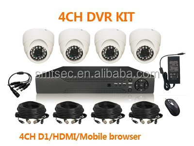 30m Cables 4pcs D1 25fps real-time H.264 network Stand alone 4ch DVR+Dome IR Camera 4CH D1 H.264 CCTV DVR KIT(DVR-KIT204/30m)