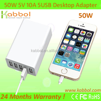 50W Multiport usb dock station ation with Intelligent Charging IC for iPhone 5s 5c 5; iPad Air mini; Galaxy S5 S4