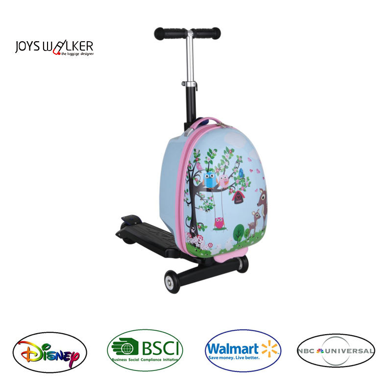 PC colorful printed scooter trolleycase luggage with spinner wheels cute good quality kids square shape travelling bag