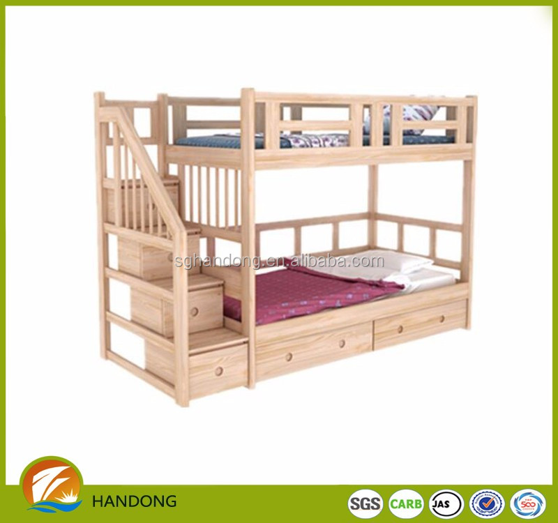 Home Poplar Wood Stairway Bunk Beds With Storage Drawer