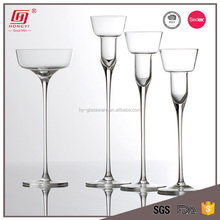 2017 new design lead free wedding centerpiece glass candle holder wholesale long -stemmed candle holder