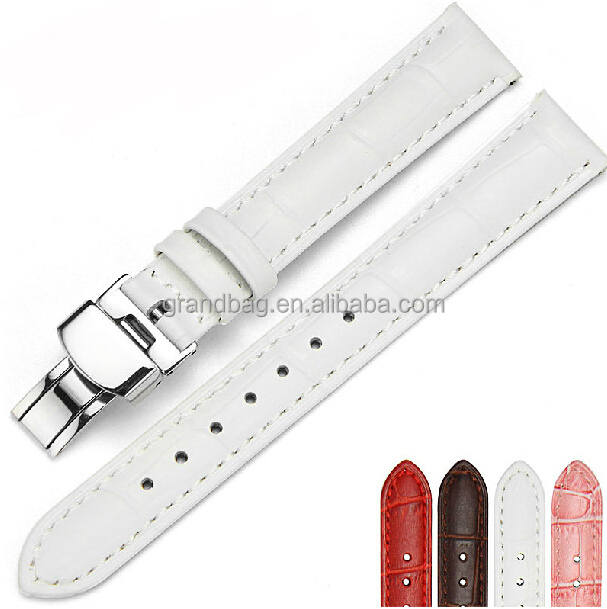 Genuine Leather Folding Clasps Lady Watch Belt Band