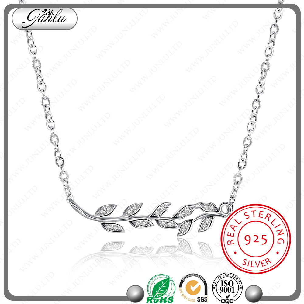 Olive branch design pendant necklace fashion silver 925 nice zircon jewelry necklace