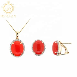Hot Solid 18K Gold Pendant Earring 3 Pieces With Gemstone Simple Jewellery Luxury Set Gold
