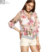 Women Clothing 2017 Multicolor Floral Print Jackets Coats Autumn Womens Casual Perspective Hooded Zipper Jacket Women Wear