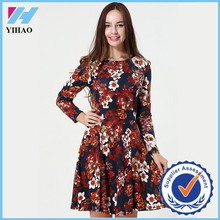 Yihao 2015 Woman Winter Vintage Retro Flower Print Long Sleeve Dress