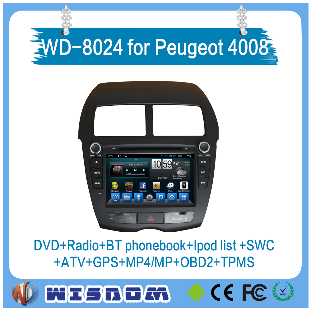 2016 Wisdom China manufacture Android 3g wifi DVD auto audio radio gps navigation and bluetooth for PEUGEOT 4008 car stereo