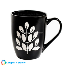 12ounce custom leaf hand-painted matte black stoneware coffee tea cup