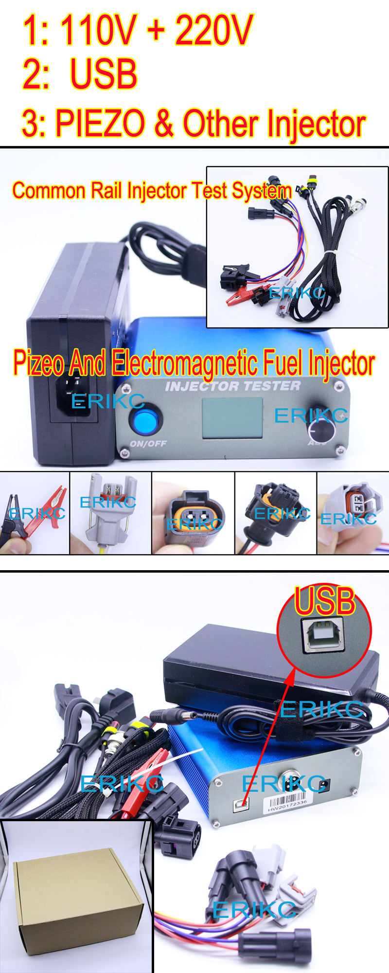 ERIKC diesel injector pump test benches tester for test diesel injector