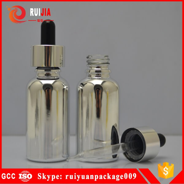 dropper bottle 30ml glass silver color with dropper for e vape oil manufacture in China