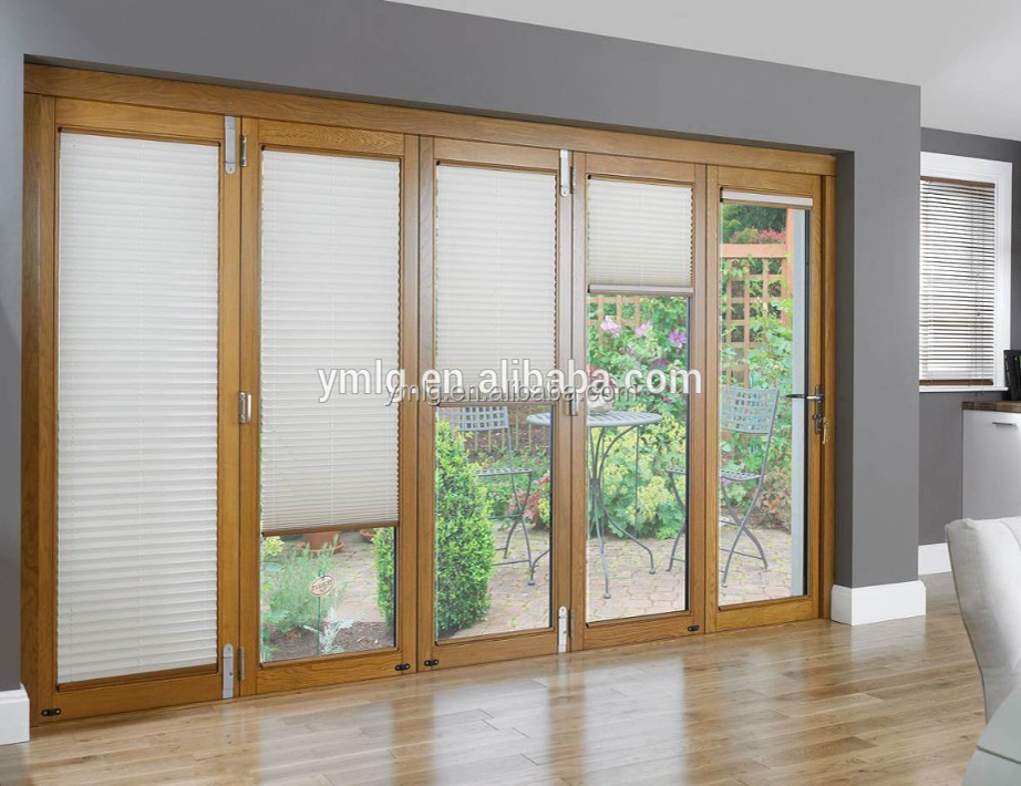 Latest Design Interior Wood Cladding <strong>Aluminum</strong> Folding Door With Blinds