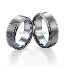 Brushed and Polished Diagonal Grooved Tungsten Ring Set Without Stone For Men Women