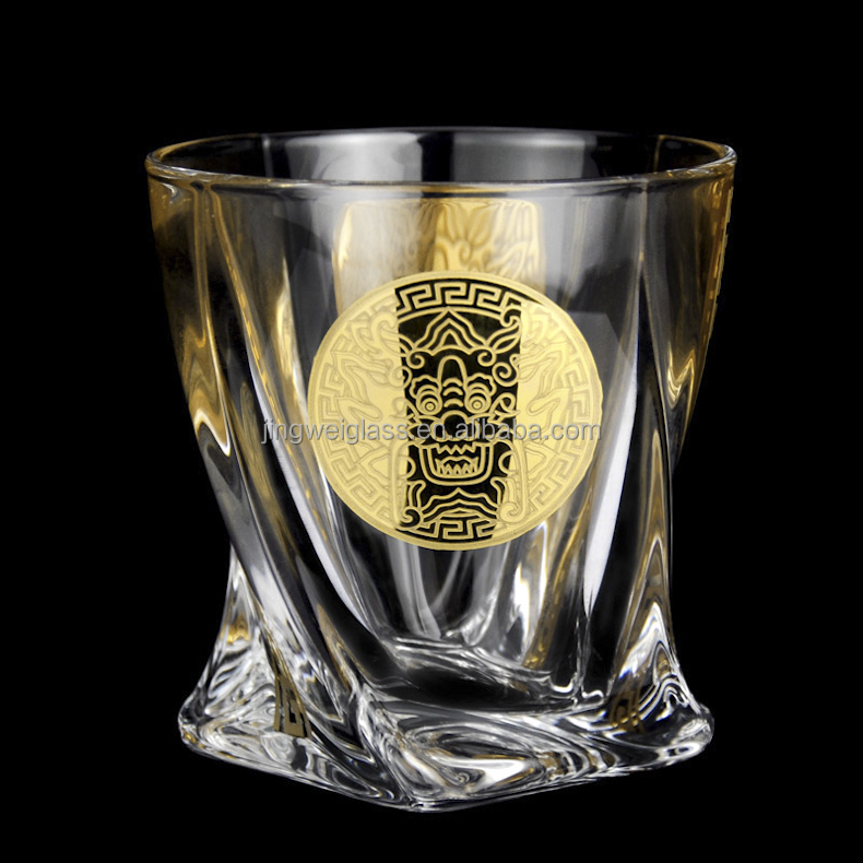 Special unique twisted bottom whiskey glasses