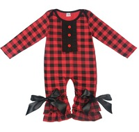 Baby Clothes Wholesale Infant Baby's Plain Plaid Romper