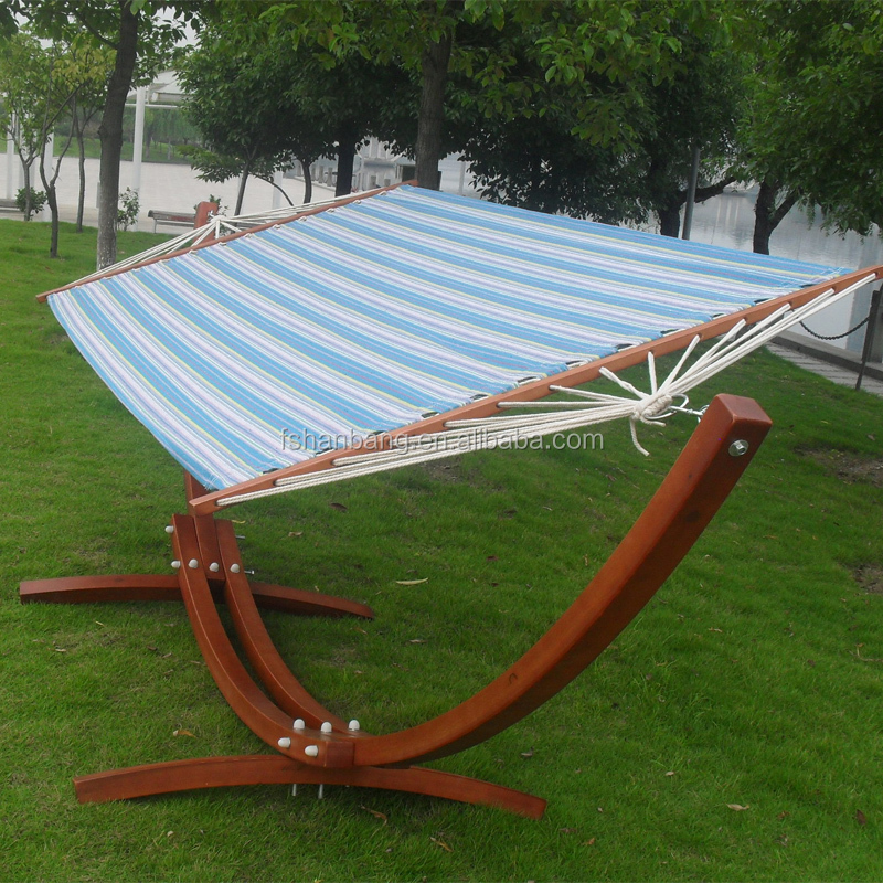Outdoor Garden Patio Swing Furniture Free Standing Wood Curved Arc Hammock Chair Stand Double 2 ...