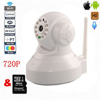 Wireless H.264 wifi infrared megapixel wireless ip camera sd card indoor