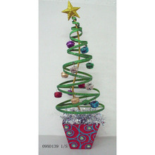 Spiral poted tabletop metal christmas tree