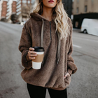 Women's Sherpa Pullover Sweatshirts Winter Fluffy Hoodie with Pocket Top Hooded Jumper Plus Size