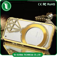 New fashion luxury rhinestone metal case for iphone 4/4s, metal aluminum bumper case cover for iphone 4/4s