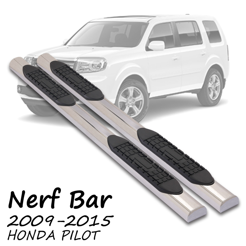 FIT 09-14 HONDA PILOT 4 INCH SIDE STEP NERF BAR RUNNING BOARD STAINLESS STEEL A4