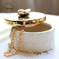 Wholesale round gold silkworm trinket box ceramic jewelry box
