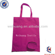 Folding polyester reusable shopping bag with zipper round pouch