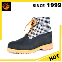 Alibaba Wholesale Different Style Waterproof Black And White Gingham Nubuck Safety Working Boot For Men