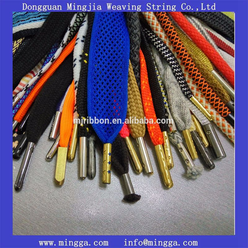 factory manufacture round rope polyester shoe lace with customized logo tips