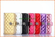 New Grid Leather Sheep Wallet phone Case for iphone6, Bling Diamond Handbag leather case for iphone6