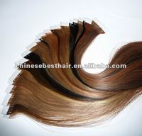 "Hot Sale 22"" Indian Remy Two Tone Color 2.5g/pc PU Tape Hair Extensions Skin Weft"