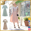 High quality lace overlay summer short sleeve women lady maxi Dress