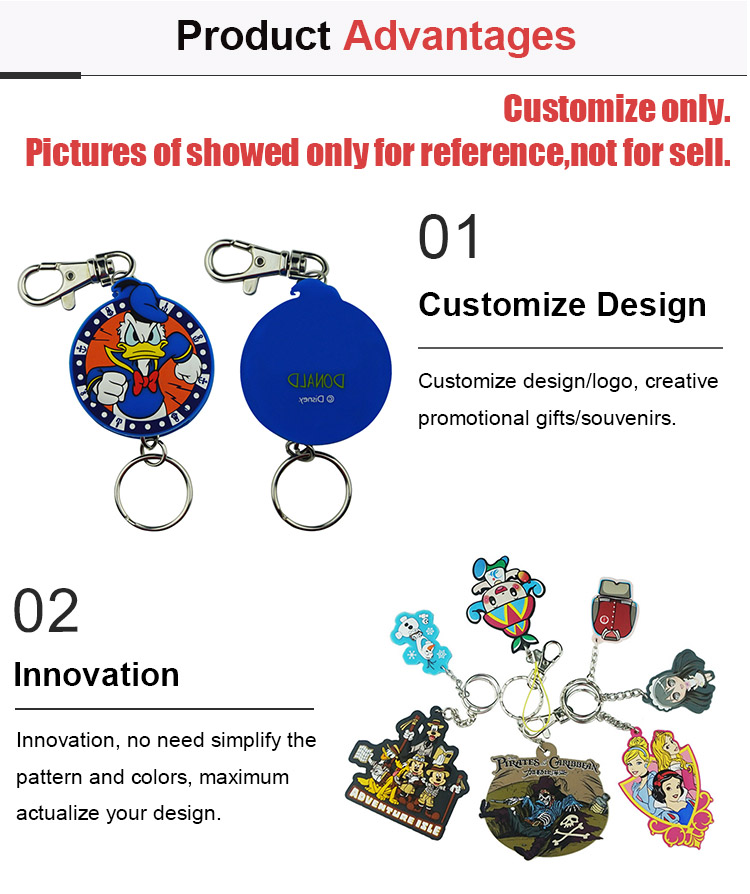 ODM/OEM Factory Custom 3D Cartoon Soft PVC Keyring Silicone Rubber keychain