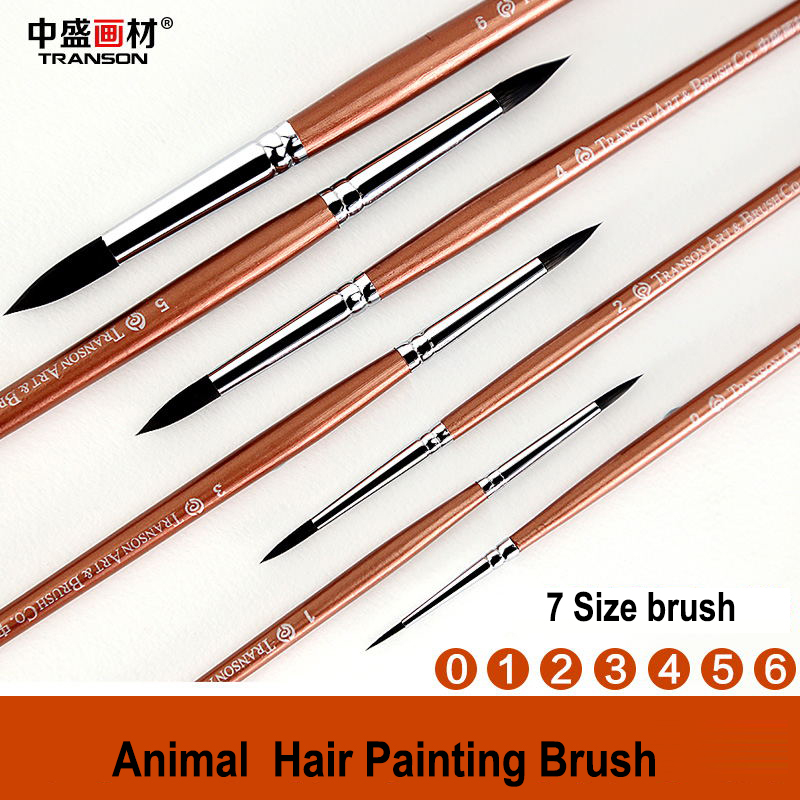 Round Shape Long Wood Golden Fine Art Paint Brush Synthetic Sable Watercolor Painting Brush Transon 2620 for Artist Using
