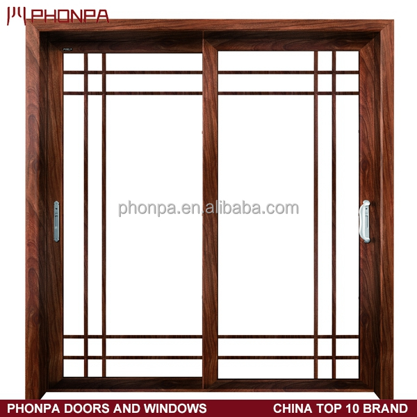 Power caoted wood grain finished aluminum sliding door China supplier
