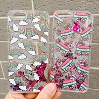10pcs/lot Hot Selling Liquid Rainbow Lovely Horse Liquid sand Hard Back Cover For Iphone6/6s/6 plus