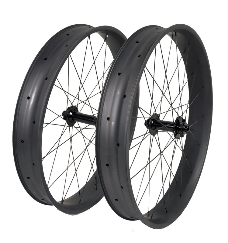 Fat Bike Wheels Clincher Compatible Tubeless 26er Carbon 32/32 Holes 80mm Wide