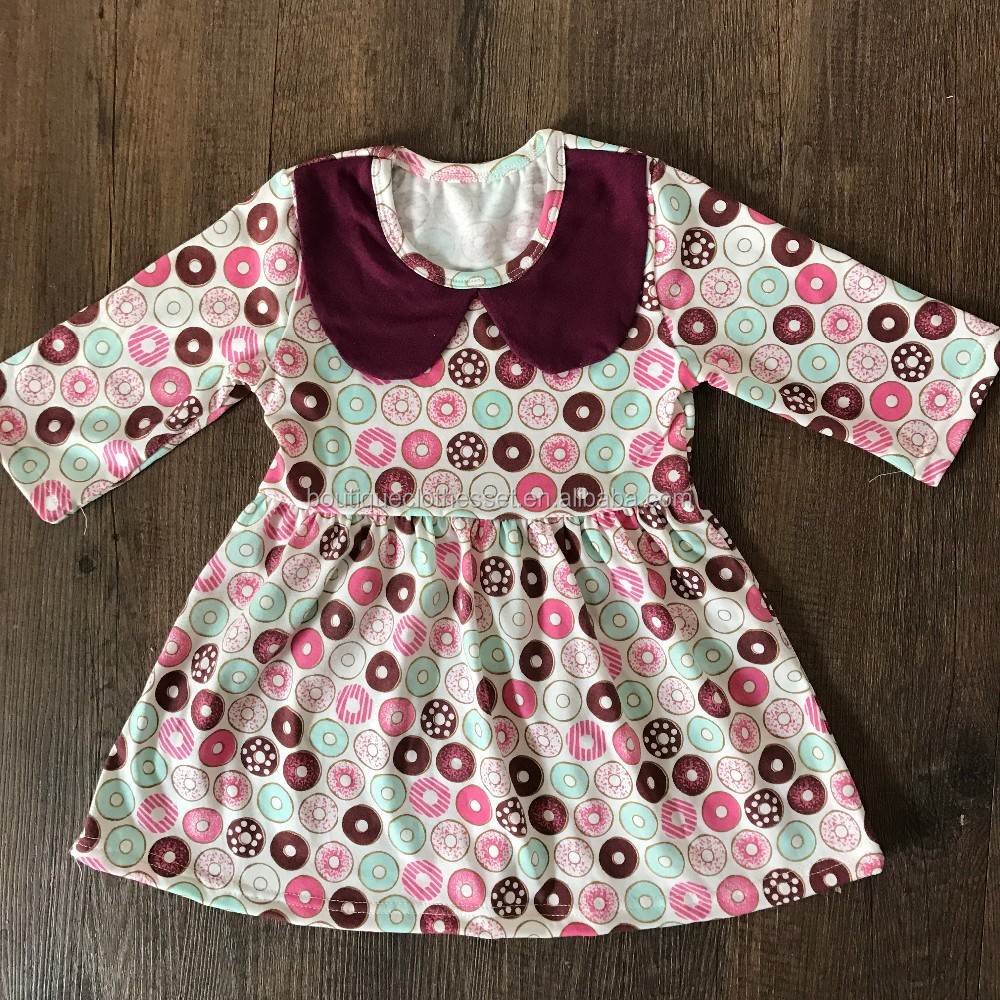 mayflower 2017 new arrival dress donuts design children summer dress cotton american style pearl dress