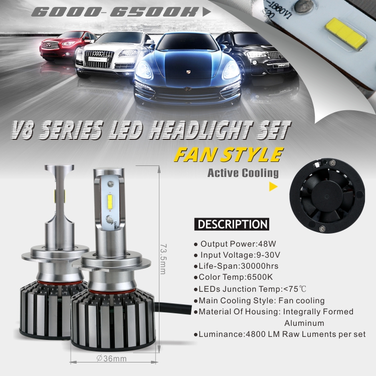 V8 version led single intense beam headlight conversion kit bulb H7 for car and truck motorcycle