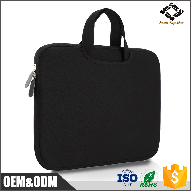 Black neoprene durable waterproof briefcase, laptop sleeve case with handle