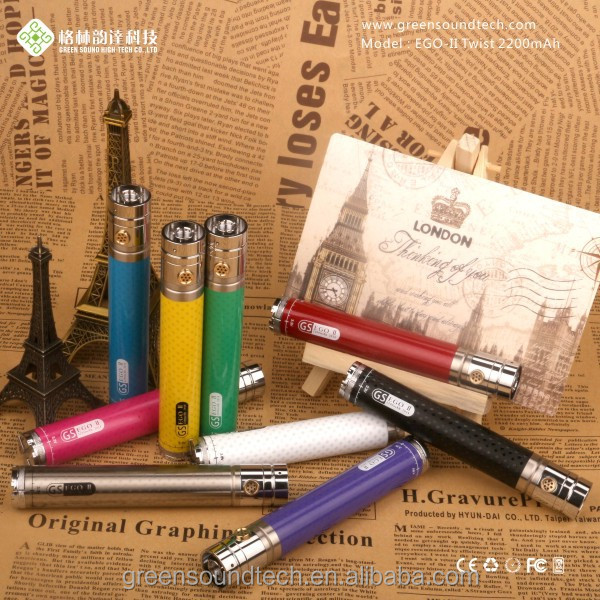 GS EGO II BATTERY with Free compatible decorating ring, 3.3v - 4.8v 2200mah e vaporizer batteries