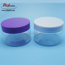 150ml white/purple plastic cap clear PET jar for cream package