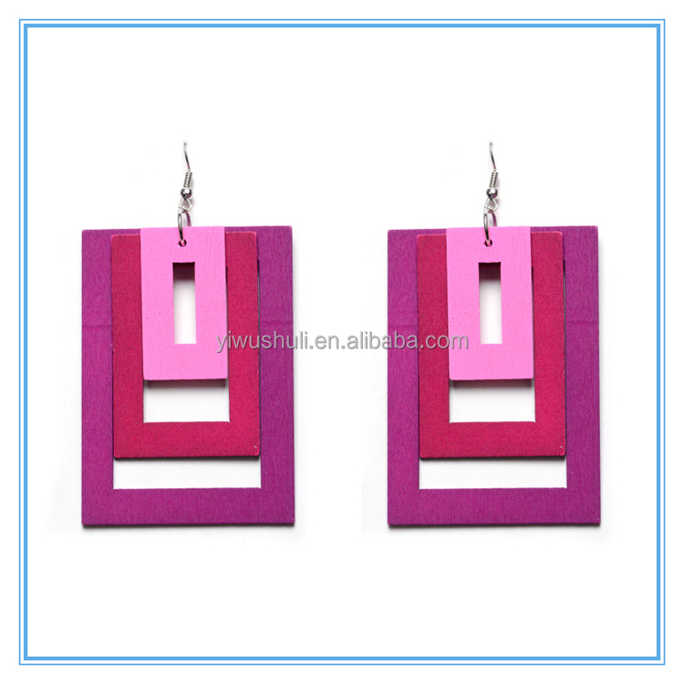 2017 Yiwu hot product wholesale personality colorful geometric wooden earrings