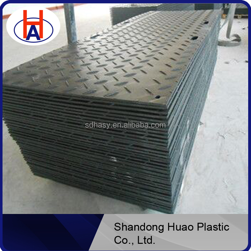 HDPE ground protection temporary sidewalks / portable foundation construction road mats