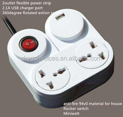 Smart Vortical 2 gang extension socket with USB charger