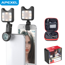 Apexel Camera Lens Mobile Selfie Ring Light Mini Clip-on 0.36x Wide Angle & 15x Macro Smartphone lenses