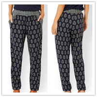 Eco-Friendly High quality summer latest fashion print narrow bottom cotton trousers for women
