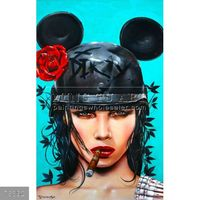 100% Handmade fantasy smoking hot sexy girl oil painting on canvas, muerte, WAR OF THE ROSES